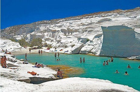 Snow-white beach, Sarakiniko, Milos, Greece