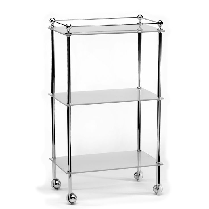 Freestanding bathroom trolley with glass shelves. Made from the finest materials with a combination of the latest technology and hand craftsmanship. Employing a high quality plating process to ensure a flawless finish