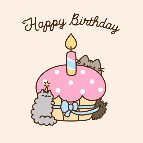 Happy Birthday Pusheen Cupcake Gif