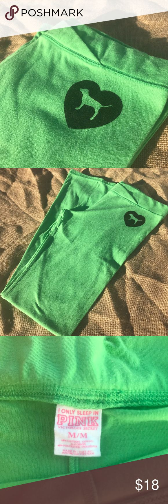 🍏 Victoria Secret lime green leggings 🍏 Size Medium. EUC. Lime green leggings that could be used for working out or sleeping in. They are stretchy, soft material pants. Has a heart on left hip with VS dog 🐶 some piling in between thighs, cause let's face it. Thick thighs save lives. No holes tears or stains. Make them yours today! PINK Victoria's Secret Pants Leggings
