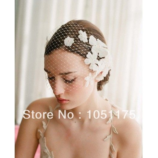 White Ivory Bridal Wedding Veil Lace FLOWERS Short Blusher Birdcage Veil Soft Tulle Bridal Head Pieces Bridal Fascinator