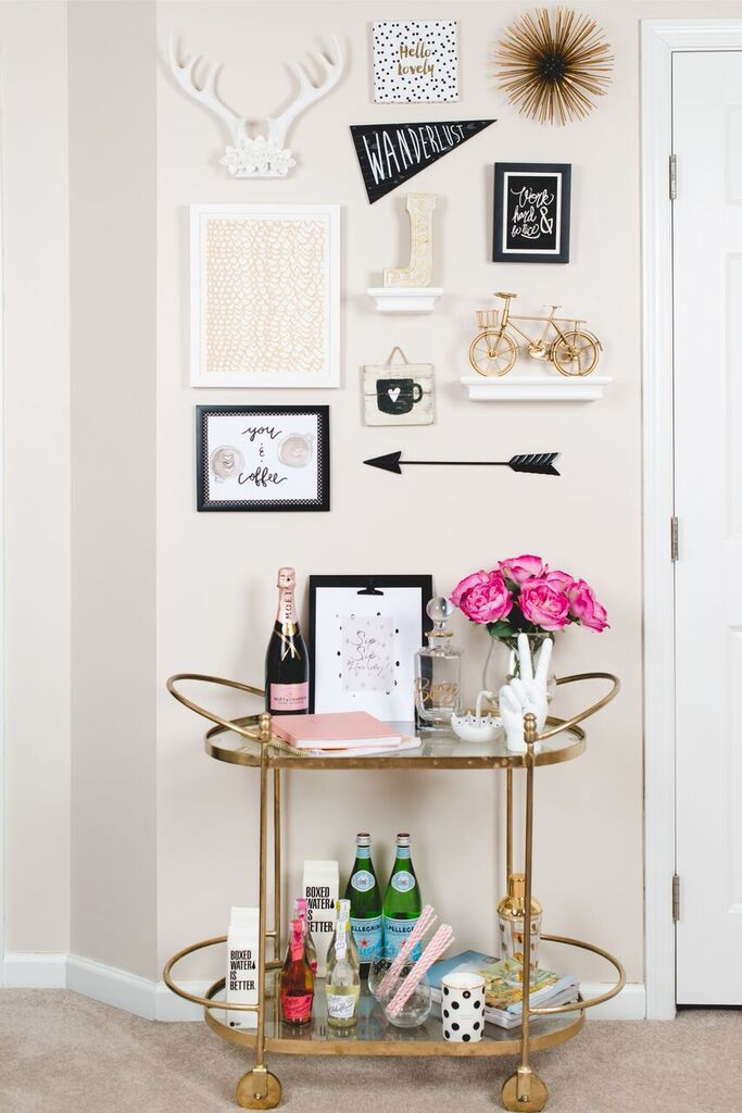 Affordable, cute idea for a Gallery wall with art pieces from Hobby Lobby, Minted.com, and Target!