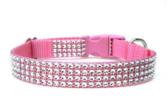 Hey, I found this really awesome Etsy listing at https://www.etsy.com/listing/150106095/rhinestone-dog-collar-34-pink-dog-collar