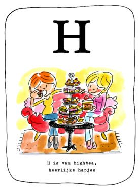 Alfabetkaart, H is van high tea- Greetz