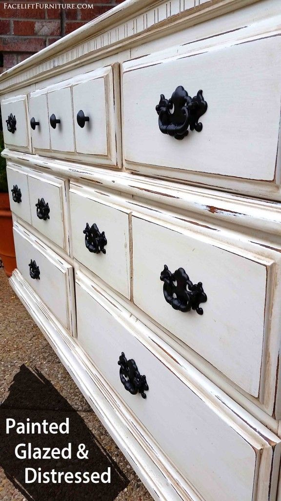 Dresser In Distressed Off White Amp Tobacco Glaze