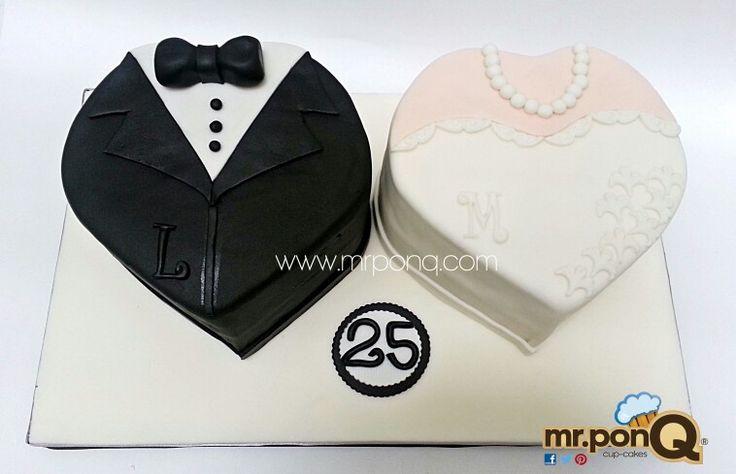 tortad en forma corazón novio y novia. mr.ponQ
