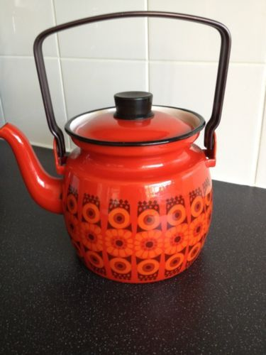 Finel Kirsikka Enamel Mid Century Kettle Teapot made in Finland By Esteri Tomula; My mother had this teapot