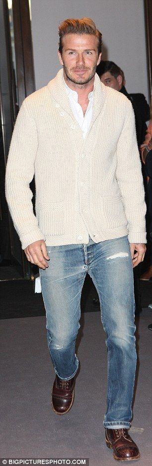 Becks sporting a shawl collar sweater vintage jeans and cap toe iron rangers