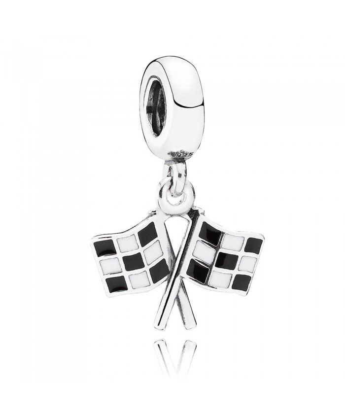 PANDORA Finish Line Racing with Black and White Enamel Dangle Charm A lot of your favorite style will be here for you to show, work well, very cross the meaning of the times.