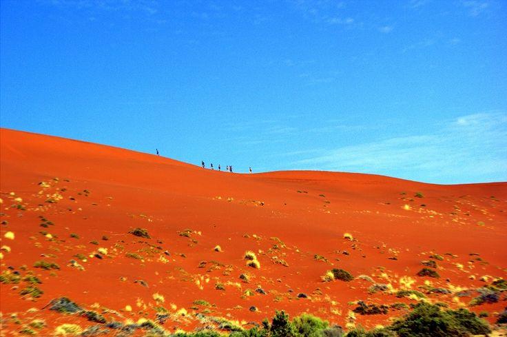 Desert trekking en route to Sossusvlei in the Namib-Naukluft National Park of #Namibia #Africa