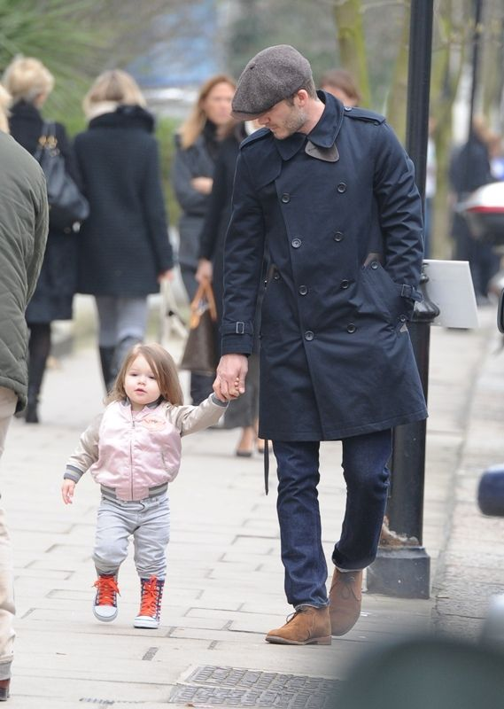 David Beckham and daughter Harper go for a walk in Kensington...check out the boots and jacket....