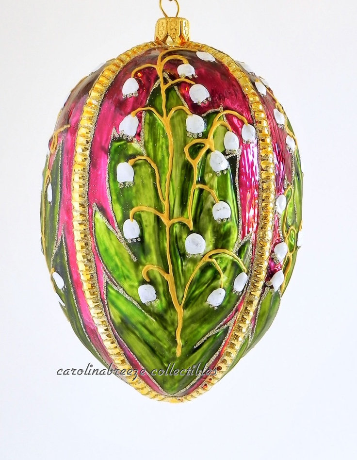 Blown Glass Ornament Burgundy Egg with Lily of The Valley Poland Silverado