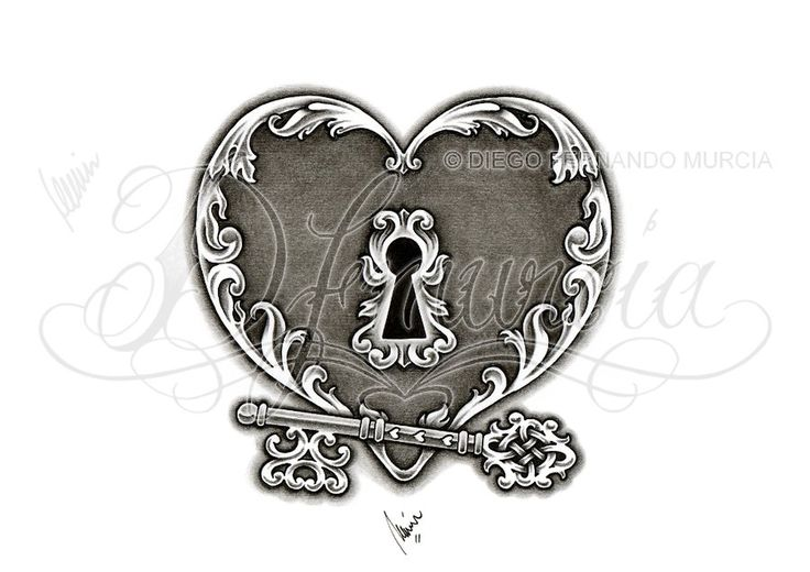 Heart Tattoos | Heart lock and key 02 by *dfmurcia on deviantART