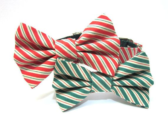 Holiday Dog Bowtie Collar Red or Green Christmas by ChloesCollars