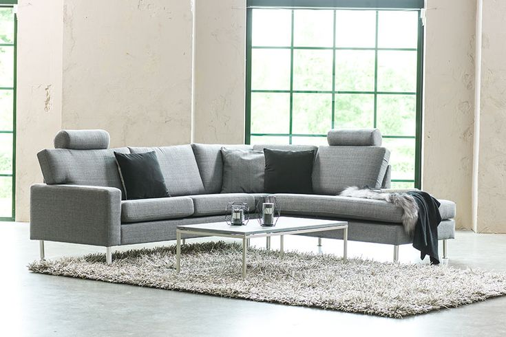 Hjørne med åpen ende E-F-D-F1, tekstil 206/03 lys grå West, ben 10 aluminium