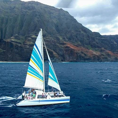 Dolphins, turtles, hidden valleys and razor sharp peeks of the Napali Coast. Adventure aboard the 50 foot sailing catamaran Leila on a 5 hour snorkel tour.
