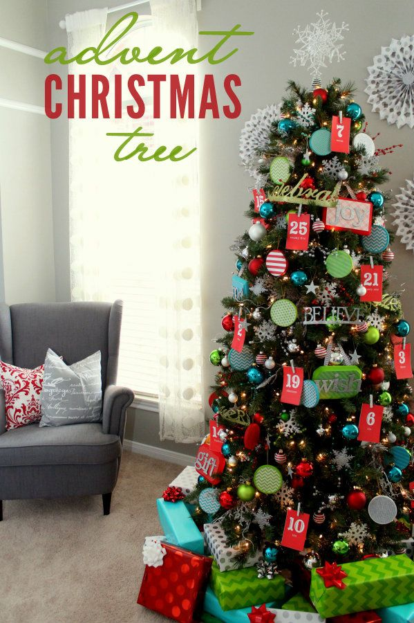 Advent Christmas Tree: Candy and Bible verses on the back of each number for each day leading up to Christmas