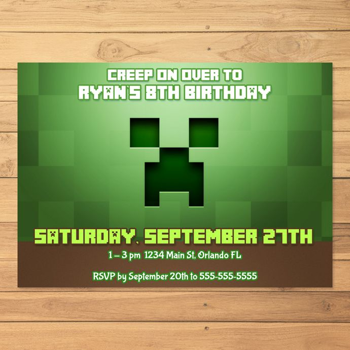 1000+ idéer om Minecraft Invitasjoner på Pinterest Minecraft og - mine craft invitation template