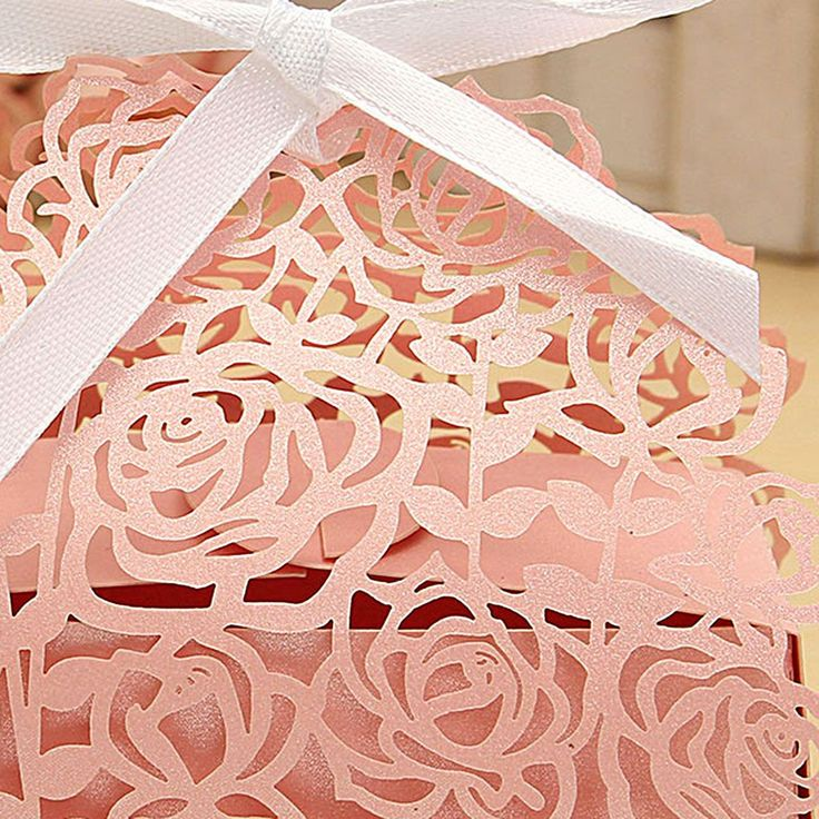 12 Pcs Lace Ribbon Rose Hollow Out Paper Candy Boxes Wedding Favors Sweets Bags Table Decoration Cheap - NewChic