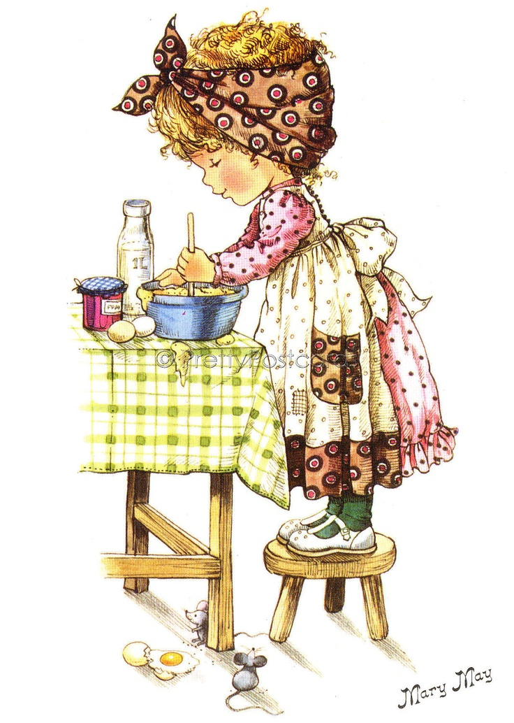 Baking a Cake, Vintage Big Eyed  Dollie Postcard by Mary May. $4.25, via Etsy.