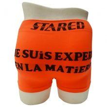 """Découvrez sur notre grossiste en ligne une large gamme de boxers pour hommes. Un prix discount à profiter pour l'ensemble de 24 boxers inscrit """"Je suis expert en la matière"""" à l'arrière, ceinture élastiquée. Tailles assorties : S/M - L/XL."""