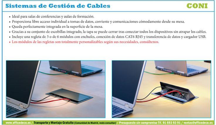 Coni Sistemas de Gestión de Cables, ideal para salas de conferencias y aulas de formación.