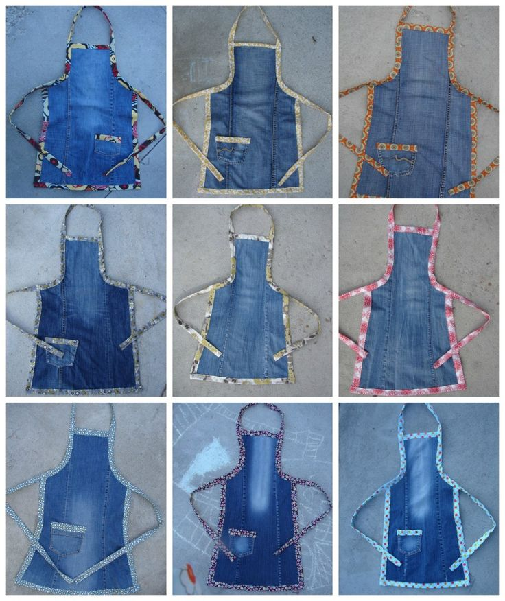 Denim apron tutorial. I was thinking this would be great for the kids as paint smocks.