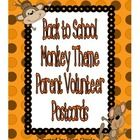 """It gets """"wild"""" during parent orientation night!  These monkey theme parent volunteer postcards are a great way to get your parents to sign up to help during the many events you have planned for this school year."""