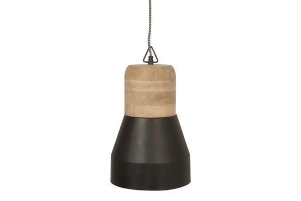 Leitmotiv :: Lampa Bold Wood, Matt Black Large - behome.pl
