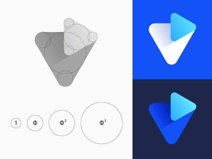 Grid Friday 3 | Golden ratio grid for V + Play logo by Vadim Carazan