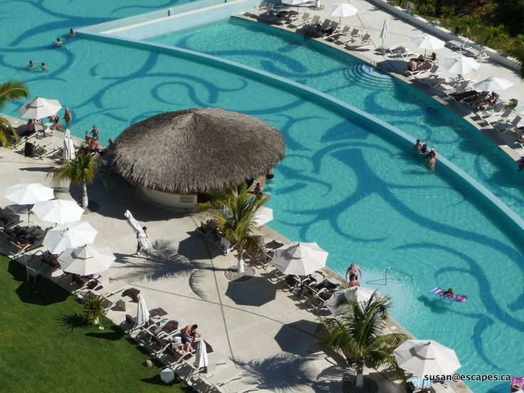 Secrets Huatulco, a view from the 5th floor down to the pools
