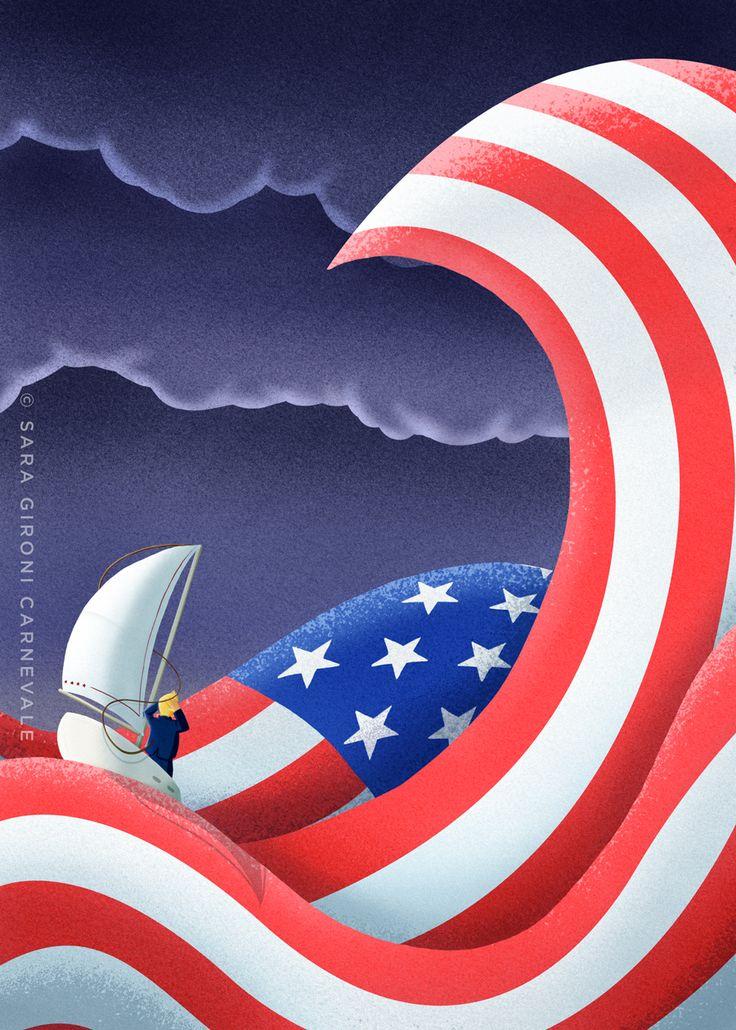 "@Sara Gironi Carnevale - Illustration for French magazine America n° 3 about America in the ""Trump Era""."