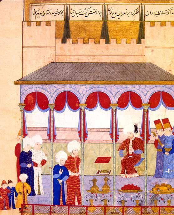 """Dichterempfang beim Sultan Sultan Selim II. empfängt Seyyid Lokman im Çorlu-Palast in Edirne. Seyyid Lokman war ein berühmter Literat, der für die Produktion der Hof-""""şahname"""", der sog. Königsbücher, einer Art historischer Epik zum Lob der Herrscher, zuständig war. Osmanische Miniaturmalerei, aus dem """"Şahname-ı Selim Han""""."""