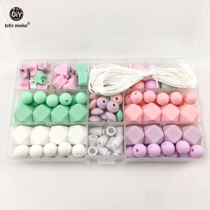 promo lets make baby teether set unfinished chewable silicone roundhex beads baby shower #silicone #teething #necklace