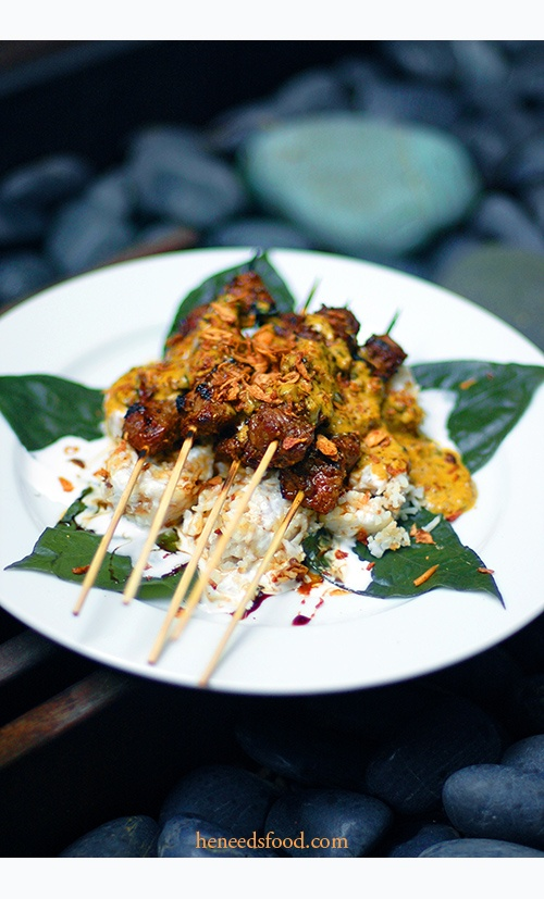 Sate. Indonesian food  Best was in Padang and Palembang!