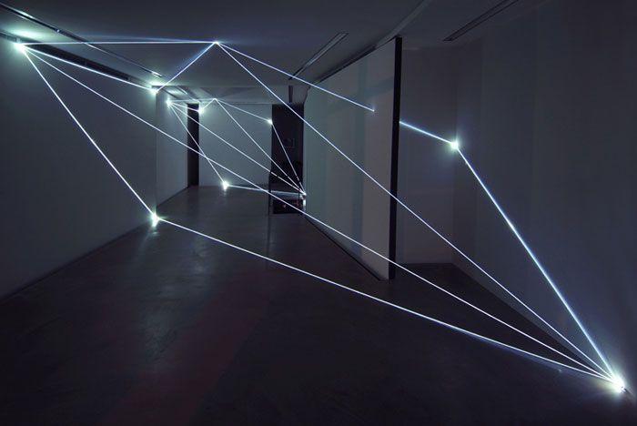 "Via Yellowtrace: ""Milan-based artist Carlo Bernardini creates fiber optics installations that transform dark spaces into abstract light environments."""