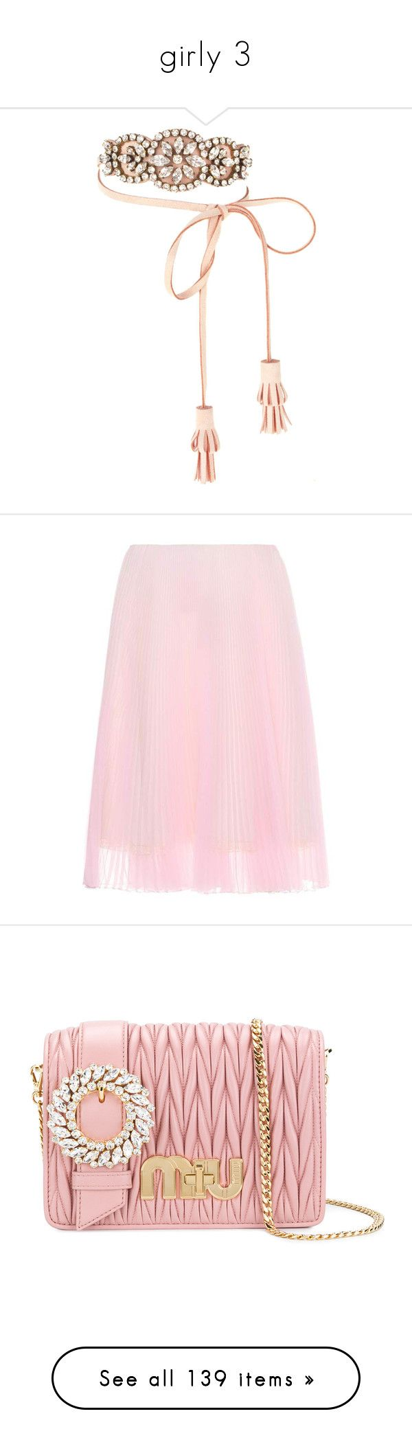 """""""girly 3"""" by bnethercutt ❤ liked on Polyvore featuring jewelry, necklaces, pink, pink necklace, rhinestone necklace, pink rhinestone necklace, shourouk, leather tassel necklace, skirts and pleated skirt"""