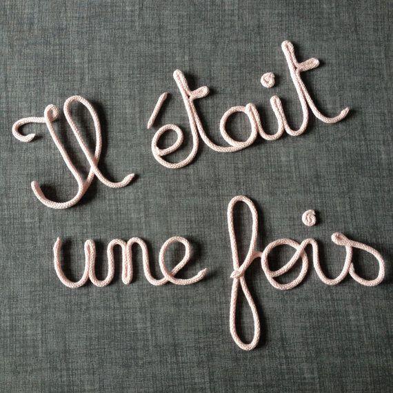 """Mot en laine - Phrase en tricotin """"Il était une fois"""""""