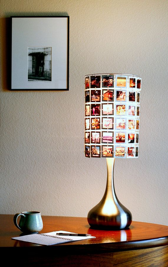 Lampshade made from vintage slides with modern brushed stainless droplet base via Etsy