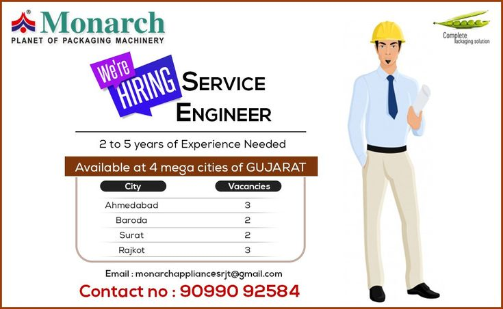 Job description - Minimum 2_5 yr exp. - Clearly & professionally interact with customer. - Strong problem solving skill. - Positive attitude. - Time management - Functional area : production, manufacturing, maintenance - Employment type : full time Role : service / maintenance engineer  Monarch Appliances - Complete Packaging Solution #Monarch #packaging #machinery #Ahmadabad #Surat #Rajkot #Metodaz