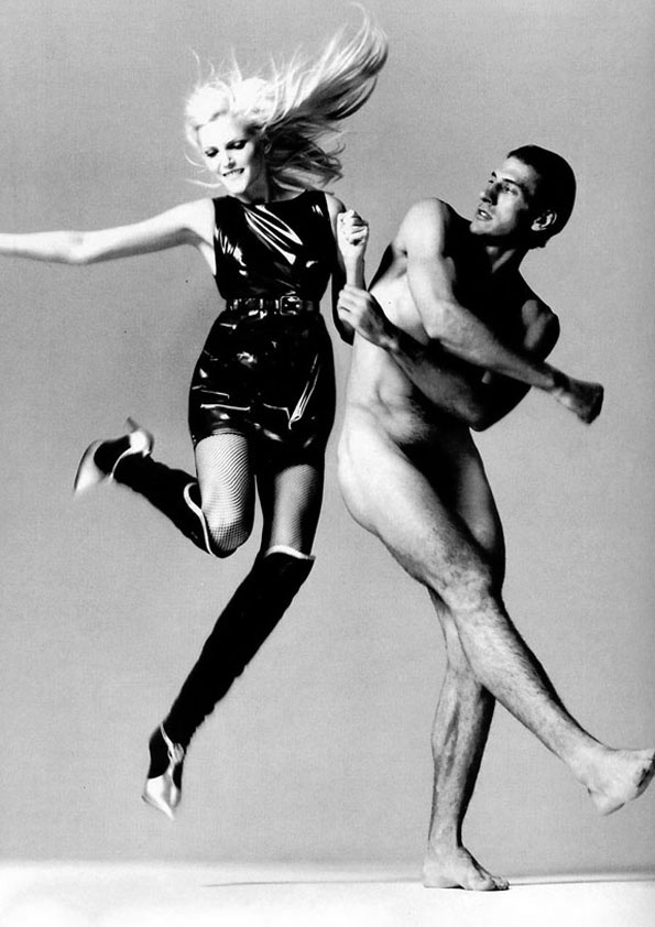 Nadja Auermann & Maximo Morrone (Photography by Richard Avedon) | 1994 Maybe one of the reasons I loved Versace so much is the men were bigger objects than the women.