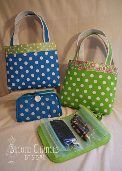These crafting activity bags are made with pot holders and place mats