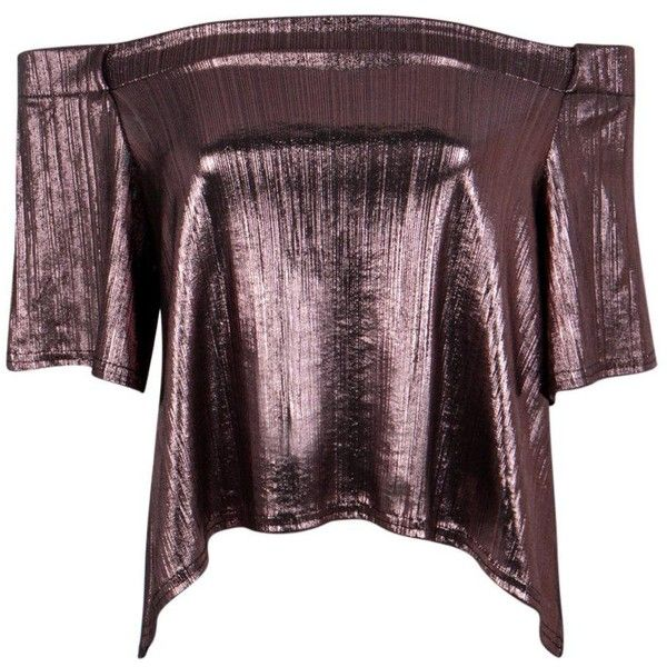 Boohoo Amy Metallic Bardot Top (310 MKD) ❤ liked on Polyvore featuring tops, purple top, off the shoulder crop top, off shoulder tops, bralette crop top and cami top