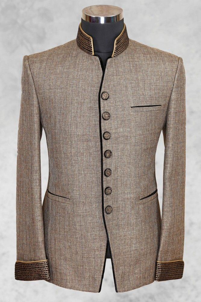 Light brown well dressed jute suit with bandhgala collar-ST482
