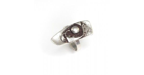 Inel cu design brutalist - bijuterie de autor - argint
