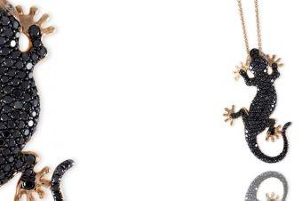 Gismondi Jewellery 1754 Gecko pendant in rose gold 18Kt with natural black diamonds.