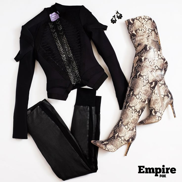 #OOTD as worn by Cookie Lyon (Taraji P. Henson) on s1 ep11 of Empire. Snakeskin heeled boots give this outfit personality.