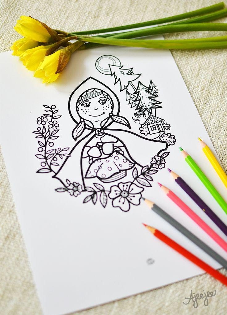 Coloring page by Ajeejee  Červená Karkulka - omalovánková ilustrace