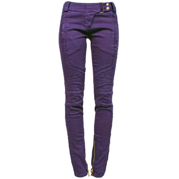 BALMAIN Violet Jeans ($1,170) ❤ liked on Polyvore featuring jeans, pants, trousers, balmain jeans, super low rise skinny jeans, cut skinny jeans, ankle zipper jeans and denim skinny jeans