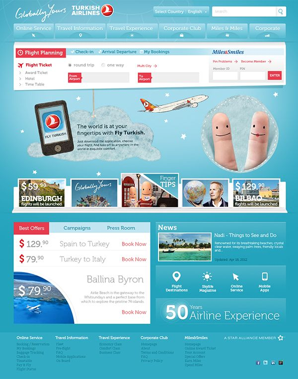 Turkish Airlines UI Design (Personal Project) by Berkan Is, via Behance
